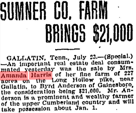 Harris, Amanda sale of farm, Nashville Tennessean, 24Jul1909, Pg 2